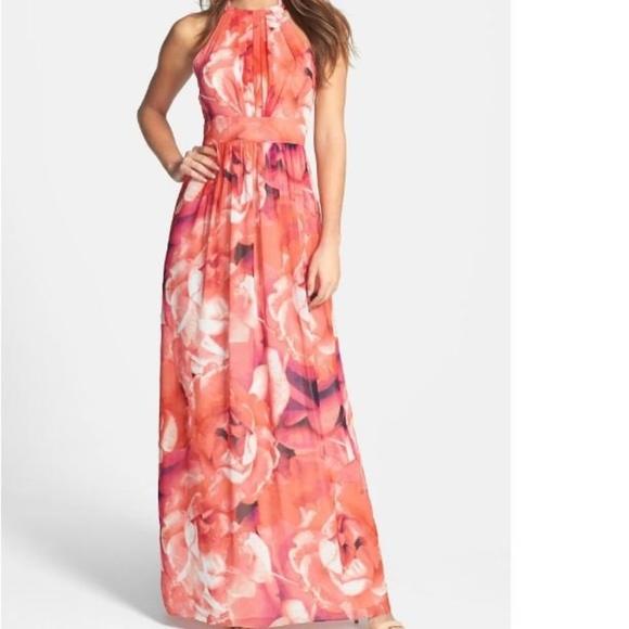 e8ed740fabb Eliza J Dresses   Skirts - Eliza J Floral Print Chiffon Halter Maxi Dress